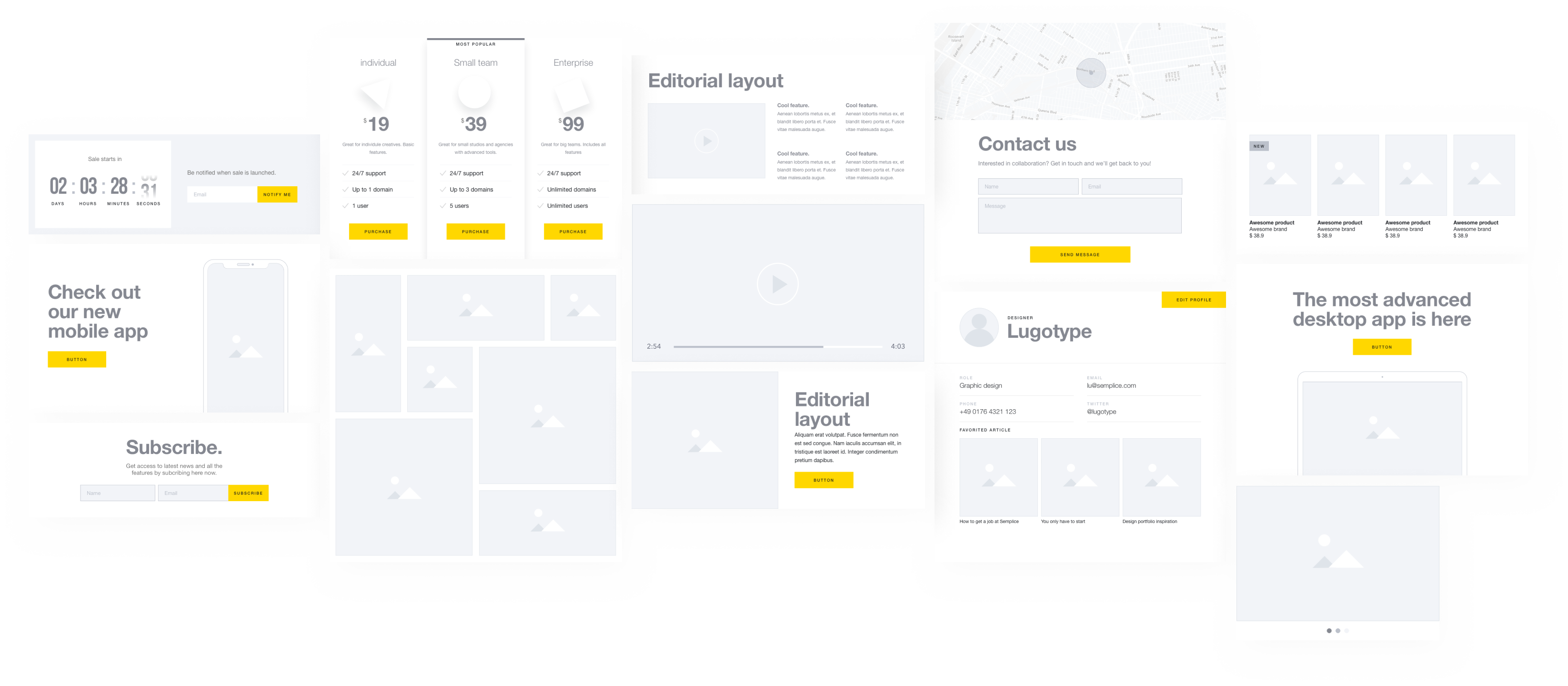 Semplice Supply - UI Wireframe Kit